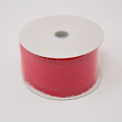 2 1/2 in. (#40) Red Frayed Burlap Ribbon