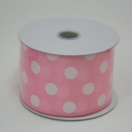 2 1/2 in. (#40) Pink & White Polka Dot Satin Ribbon