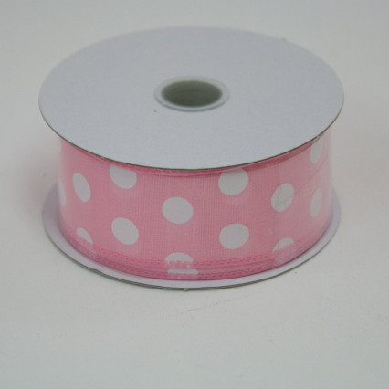 1 1/2 in. (#9) Pink & White Polka Dot Satin Ribbon