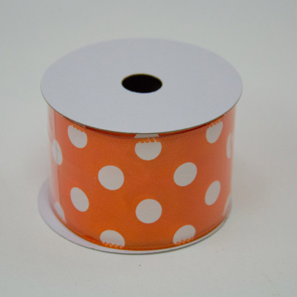2 1/2 in. (#40) Orange & White Polka Dot Satin Ribbon