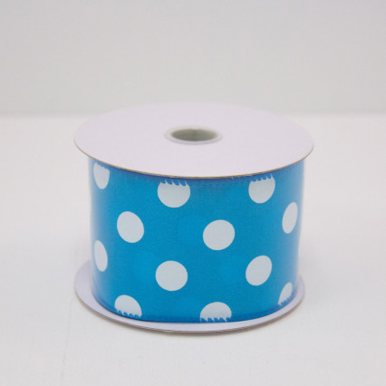 2 1/2 in. Turquoise & White Dot Satin Ribbon