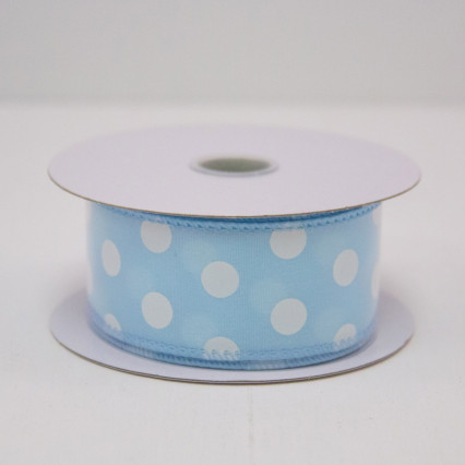 1 1/2 in. (#9) Blue & White Polka Dot Satin Ribbon