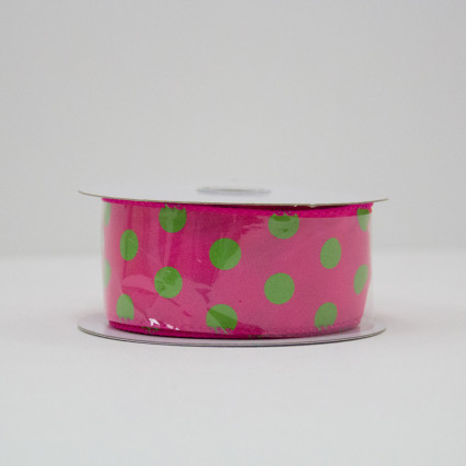 1 1/2 in. (#9) Fuchsia & Lime Polka Dot Satin Ribbon
