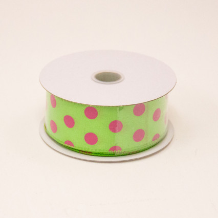 1 1/2 in. (#9) Lime & Fuchsia Polka Dot Satin Ribbon