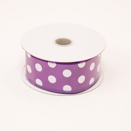 1 1/2 in. (#9) Purple & White Polka Dot Satin Ribbon