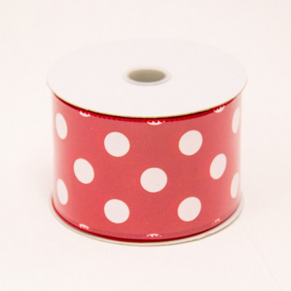 2 1/2 in. (#40) Red & White Polka Dot Satin Ribbon