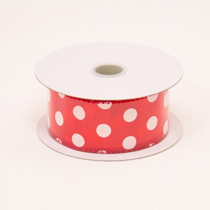 1 1/2 in. (#9) Red & White Polka Dot Satin Ribbon