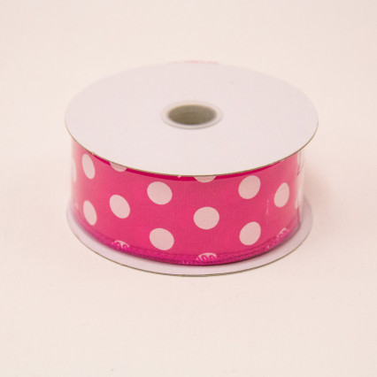 1 1/2 in. (#9) Fuchsia & White Polka Dot Satin Ribbon