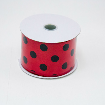 2 1/2 in. (#40) Red & Black Polka Dot Satin Ribbon