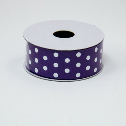 1 1/2 in. (#9) Purple & White Polka Dot Ribbon
