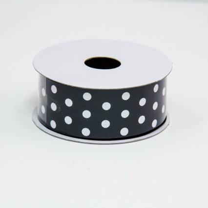 1 1/2 in. (#9) Black & White Polka Dot Ribbon