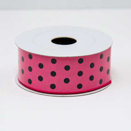 1 1/2 in. (#9) Fuchsia & Black Polka Dot Ribbon