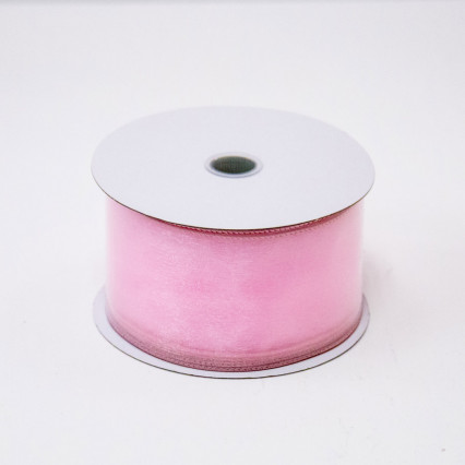 2 1/2 in. (#40) Pink Wired Edge Sheer Ribbon