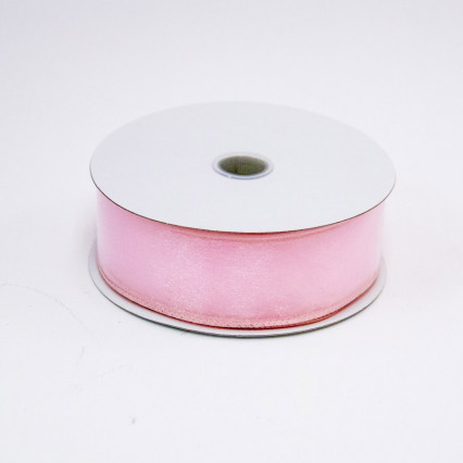 1 1/2 in. (#9) Pink Wired Edge Sheer Ribbon