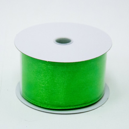 2 1/2 in. (#40) Lime Wired Edge Sheer Ribbon