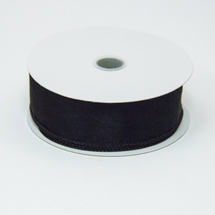 1 1/2 in. (#9) Black Wired Edge Sheer Ribbon