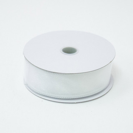 1 1/2 in. (#9) White Wired Edge Sheer Ribbon