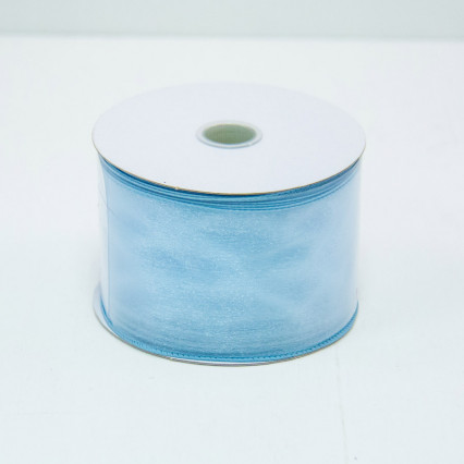 2 1/2 in. (#40) Blue Wired Edge Sheer Ribbon