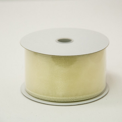 2 1/2 in. (#40) Ivory Wired Edge Sheer Ribbon
