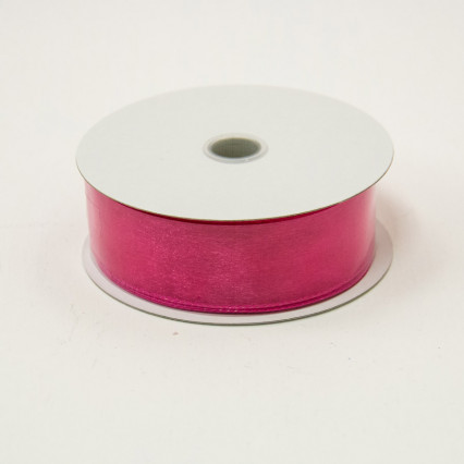 1 1/2 in. (#9) Fuchsia Wired Edge Sheer Ribbon