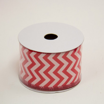 2 1/2 in. (#40) Red & White Chevron Satin Ribbon