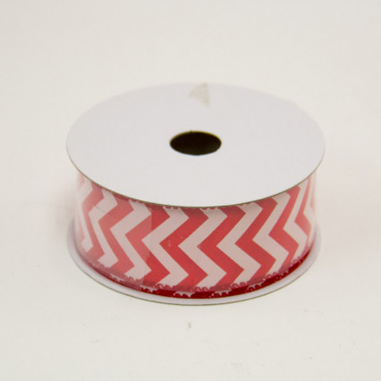 1 1/2 in. (#9) Red & White Chevron Satin Ribbon