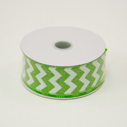 1 1/2 in. (#9) Lime & White Chevron Canvas Ribbon