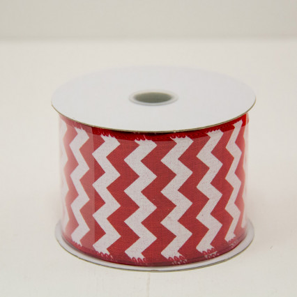 2 1/2 in. (#40) Red & White Chevron Canvas Ribbon