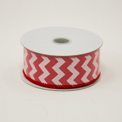 1 1/2 in. (#9) Red & White Chevron Canvas Ribbon
