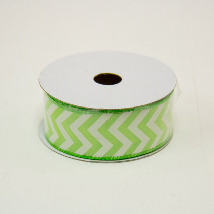 1 1/2 in. (#9) Lime & White Chevron Satin Ribbon