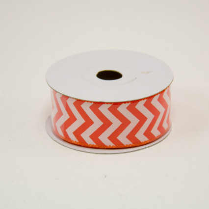 1 1/2 in. (#9) Orange & White Chevron Satin Ribbon