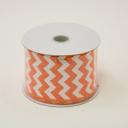 2 1/2 in. (#40) Orange & White Chevron Canvas Ribbon