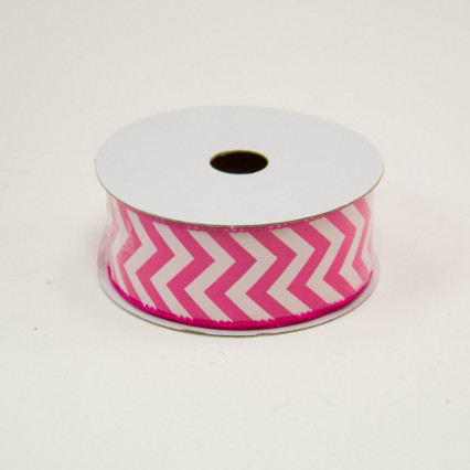 1 1/2 in. (#9) Fuchsia & White Chevron Satin Ribbon