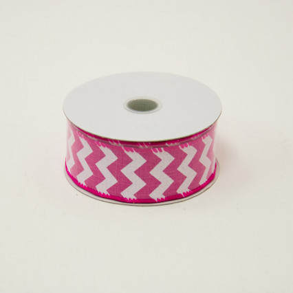 1 1/2 in. (#9) Fuchsia & White Chevron Canvas Ribbon