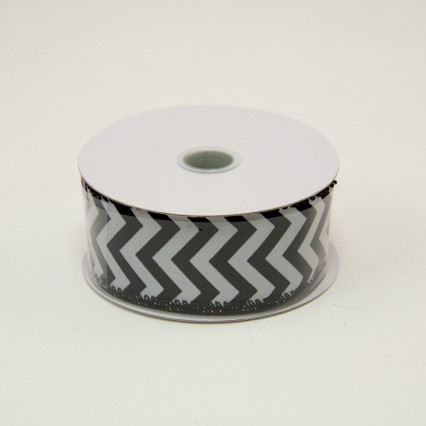 1 1/2 in. (#9) Black & White Chevron Satin Ribbon