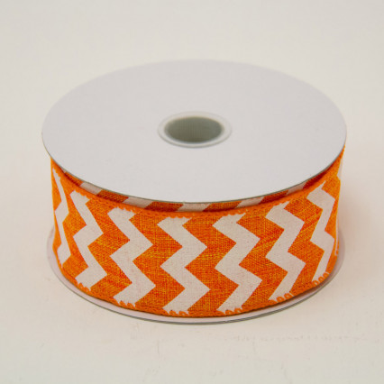 1 1/2 in. (#9) Orange & White Chevron Canvas Ribbon