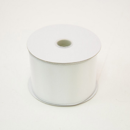 2 1/2 in. (#40) White Wired Edge Satin Ribbon