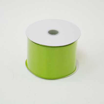 2 1/2 in. (#40) Lime Wired Edge Satin Ribbon