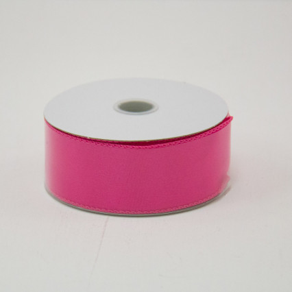 1 1/2 in. (#9) Fuchsia Wired Edge Satin Ribbon
