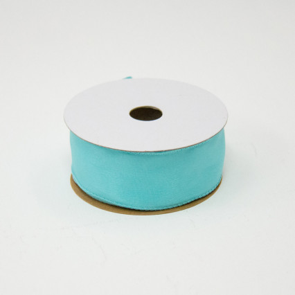 1 1/2 in. (#9) Aqua Wired Edge Satin Ribbon