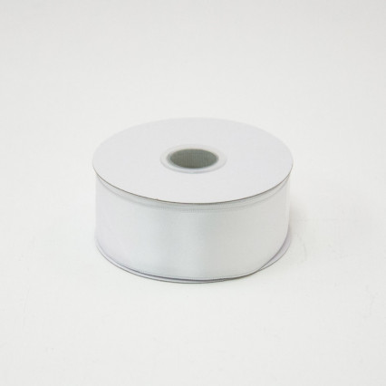 1 1/2 in. (#9) White Satin Double Faced Wired Edge Ribbon