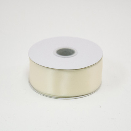 1 1/2 in. (#9) Ivory Satin Double Faced Wired Edge Ribbon