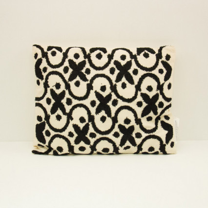 Embroidered Pillow - Ivory & Black
