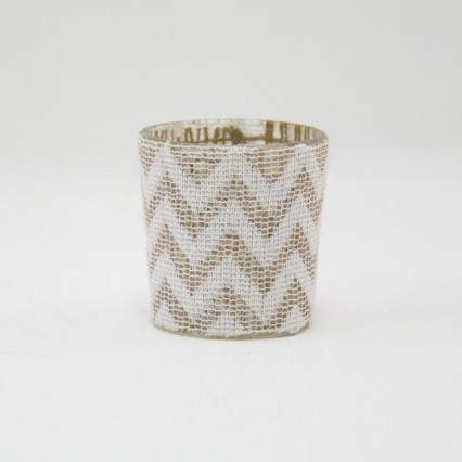 Jute Chevron Glass Votive Holders - Set of 6