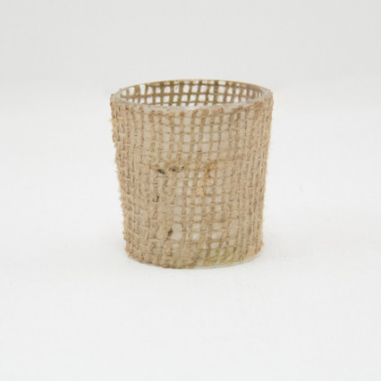 Burlap Wrapped Glass Votive Holders - Set of 6