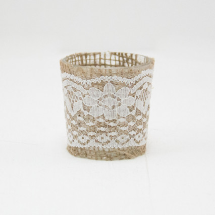 Jute & Lace Glass Votive Holders - Set of 6