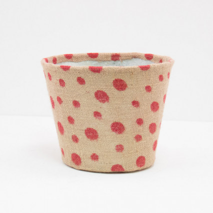 Small Polka Dot Jute Covered Tin Planter - Red