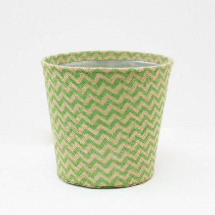 Large Chevron Jute Covered Tin Planter - Green