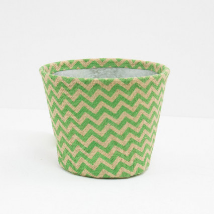 Small Chevron Jute Covered Tin Planter - Green