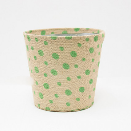 Large Polka Dot Jute Covered Tin Planter - Green